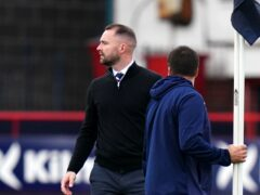 Dundee manager James McPake reacts after being a shown a red card (Jane Barlow/PA)