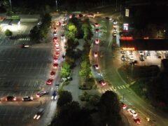 Motorists queue to fill their cars at a Sainsbury's fuel station in Ashford, Kent (Gareth Fuller/PA)