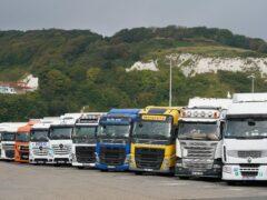 European lorries parked in Dover, Kent (Gareth Fuller/PA)