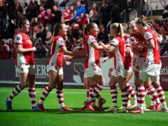 Arsenal's Katie McCabe celebrates scoring (Dominic Lipinski/PA)