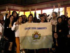 Activists in San Marino celebrate the referendum result (Antonio Calanni/AP)
