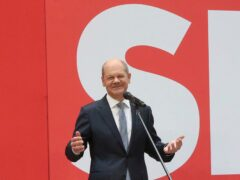 Social Democratic candidate for chancellor Olaf Scholz speaks at party headquarters in Berlin (Wolfgang Kumm/dpa via AP)
