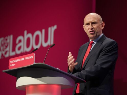 Shadow defence secretary John Healey during his speech at the Labour Party conference (PA)