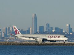 The airline is based in the energy-rich Gulf Arab state of Qatar (Jeff Chiu/AP)