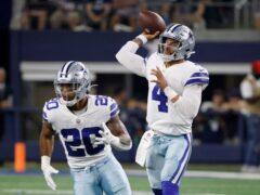 Dak Prescott threw three touchdown passes on his return to his home ground following injury to lead the Dallas Cowboys to a 41-21 win over the Philadelphia Eagles (Ron Jenkins/AP)