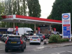 Drivers queue for fuel in Bournville, Birmingham (Jacob King/PA)