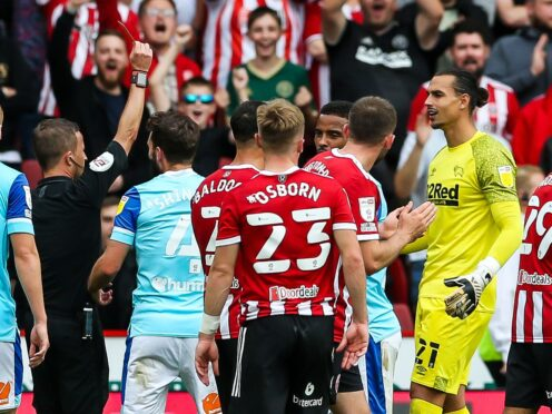 Derby goalkeeper Kelle Roos was sent off at Sheffield United on Saturday (Barrington Coombs/PA)