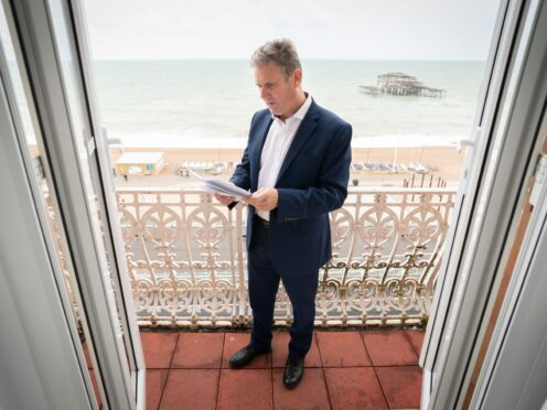 Labour leader, Sir Keir Starmer prepares his Labour Party conference speech in his hotel room in Brighton before addressing delegates tomorrow for the first time since becoming leader of his party in 2020. Picture date: Tuesday September 28, 2021.