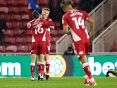 Middlesbrough's Duncan Watmore celebrates scoring the opening goal (Owen Humphreys/PA)