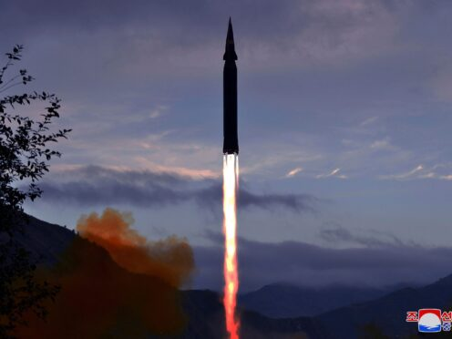 This photo provided by the North Korean government shows what North Korea claims to be a new hypersonic missile launched from Toyang-ri, Ryongrim County, Jagang Province, North Korea (Korean Central News Agency/Korea News Service via AP)