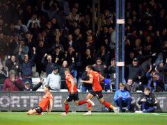 Luton's Harry Cornick celebrates scoring the second goal (David Davies/PA)