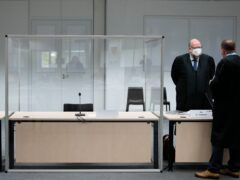 The empty seat where the defendant was due to sit at the court in Itzehoe (Markus Schreiber, Pool/AP)