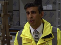 Chancellor of the Exchequer Rishi Sunak during a visit to a factory in South Milford, North Yorkshire (PA)