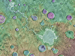 The Mars surface was shaped by furious floods from overflowing craters (ASA/GSFC/ JPL ASU)