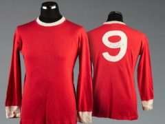 Sir Bobby Charlton's signed red Manchester United No 9 home jersey is part of the sale (Graham Budd Auctions/PA)