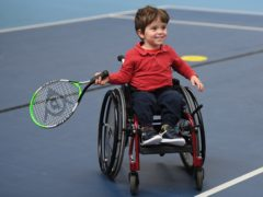 A young boy takes part in a wheelchair tennis initiative day at Lee Valley on Saturday (Harriet Lander/LTA handout)