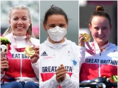 Hannah Cockroft, left, Sarah Storey and Phoebe Paterson Pine all starred in Tokyo (Tim Goode/PA)