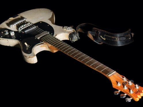 The guitar was sold by Boston-based RR Auction (Nikki Brickett/RR Auction via AP)