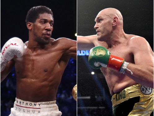 Anthony Joshua, left, and Tyson Fury hold all four major world heavyweight titles (PA)