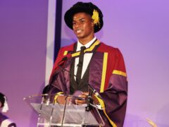Marcus Rashford collects an honorary doctorate from the University of Manchester at Old Trafford (Manchester United Football Club/PA)