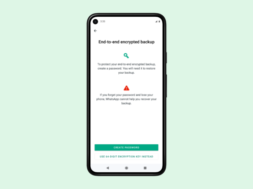The WhatsApp set-up screen for end-to-end encrypted back-ups (WhatsApp)