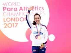 Great Britain's Stef Reid with her gold medal after the Women's Long Jump T44 Final during day two of the 2017 World Para Athletics Championships at London Stadium (PA)