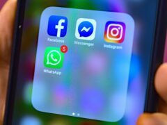 Stock photo of Facebook, Messenger, Instagram and WhatsApp social media app icons on a smart phone (Nick Ansell/PA)