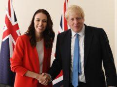 Prime Minister Boris Johnson meets the Prime Minister of New Zealand Jacinda Ardern (Stefan Rousseau/PA)