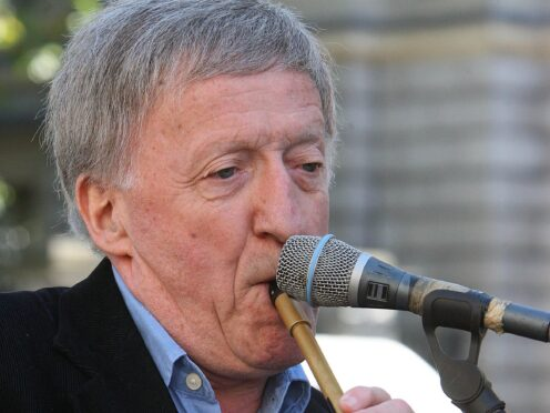 STANDALONE PHOTO. Paddy Moloney and The Chieftains plays a tune during a demonstration at the Dail over the M3 motorway plans.