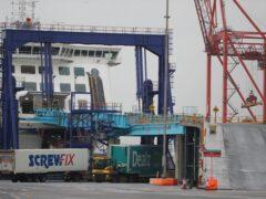 Trucks at Dublin port (PA)