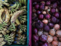 Food laid out in crates at a food bank in north London (Luciana Guerra/PA)