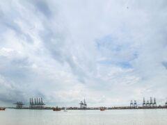 General view of Harwich Docks in Harwich