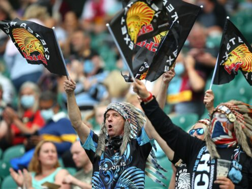 Exeter Chiefs fans wearing the headdresses (Nigel French/PA)