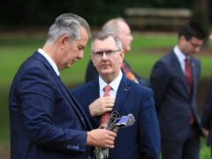 Agriculture Minister Edwin Poots, left, with DUP leader Sir Jeffrey Donaldson (Peter Morrison/PA)
