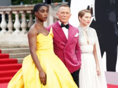 Lashana Lynch, Daniel Craig and Lea Seydoux at the world premiere of No Time To Die at the Royal Albert Hall in London (Jonathan Brady/PA)