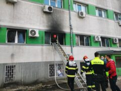Firefighters put out a blaze at the Covid-19 ICU section of the Hospital for Infectious Diseases in the Black Sea port of Constanta, Romania (Romanian Emergency Situations Inspectorate via AP)