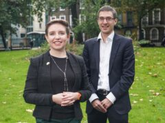 Carla Denyer and Adrian Ramsay outside the St Pancras Meeting Rooms in London after being elected as the co-leaders of the Green Party. Picture date: Friday October 1, 2021.