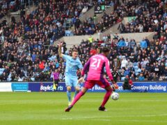 Viktor Gyokeres scores Coventry's first goal (Nigel French/PA)