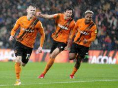 Hull's Keane Lewis-Potter (left) celebrates against Middlesbrough (Richard Sellers/PA).