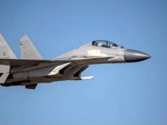 A Chinese J-16 fighter jet (Taiwan Ministry of Defence via AP)