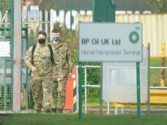 Members of the armed forces at Buncefield oil depot, known as the Hertfordshire Oil Storage Terminal, in Hemel Hempstead (Joe Giddens/PA)