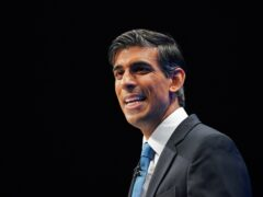 Chancellor of the Exchequer Rishi Sunak speaking at the Conservative Party Conference in Manchester (Peter Byrne/PA)