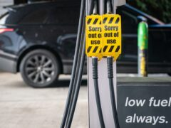 Closed off fuel pumps at an Applegreen petrol station in central London. (Dominic Lipinski/PA)