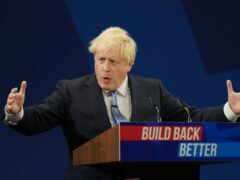 Prime Minister Boris Johnson delivers his keynote speech to the Conservative Party conference in Manchester (Jacob King/PA)