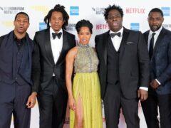 Jonathan Majors, Jay-Z, Regina King, Jeymes Samuel and Idris Elba arrive for The Harder They Fall world premiere (Ian West/PA)