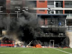 Fire broke out at Estadi Nacional on Friday afternoon (Simon Peach/PA)
