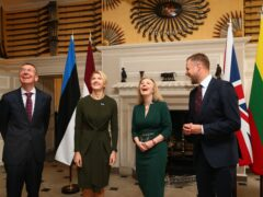 Liz Truss with three Baltic state foreign ministers at Chevening (Hollie Adams/PA)
