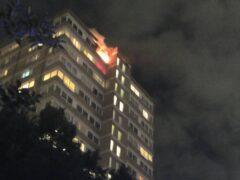 A fire at a tower block on Westbridge Road in Battersea, south-west London (@AkashDe69028264/Twitter/PA)