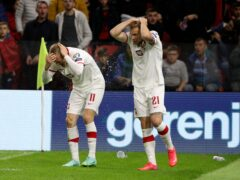 Poland's Karol Swiderski, left, holds his head as Albania fans throw objects on to the pitch (Franc Zhurda/AP).