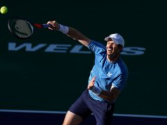 Andy Murray, of Britain, returns a shot to Alexander Zverev, of Germany, at the BNP Paribas Open tennis tournament Tuesday, Oct. 12, 2021, in Indian Wells, California (Mark J Terrill/AP)